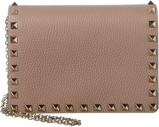 Valentino Rockstud Grainy Leather Wallet On Chain