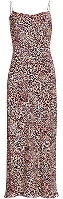 Adriana Iglesias Gloria Jaguar-Print Silk Slip Dress