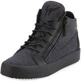 Giuseppe Zanotti Men's Felt & Leather Mid-Top Sneaker, Charcoal