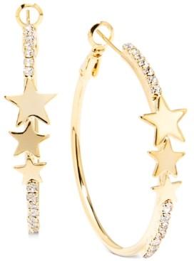 "Zenzii Gold-Tone Medium Pave & Star Hoop Earrings, 1.5"""