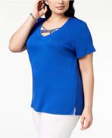 Karen Scott Plus Size Hardware T-Shirt, Created for Macy's