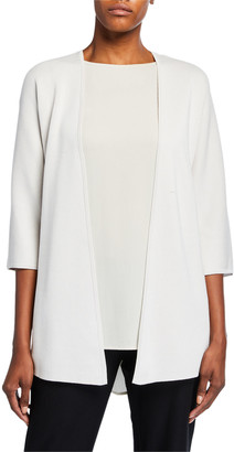 Eileen Fisher Plus Size Silk/Organic Cotton Interlock Belted Wrap Cardigan