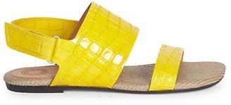 Dries Van Noten Leather Crocodile Print Double-Strap Flat Sandals