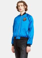 Saint Laurent Men's Glittered Shark Embroidered Satin Teddy Bomber Jacket In Blue