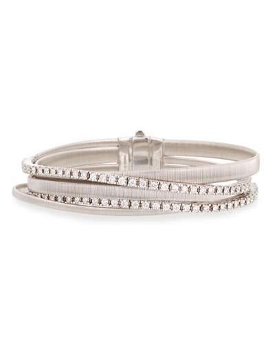 Marco Bicego Masai 18k White Gold Five-Strand Diamond Crossover Bracelet