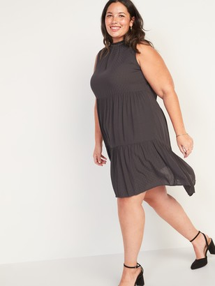 Old Navy Sleeveless Textured-Dobby Tiered Plus-Size Swing Dress