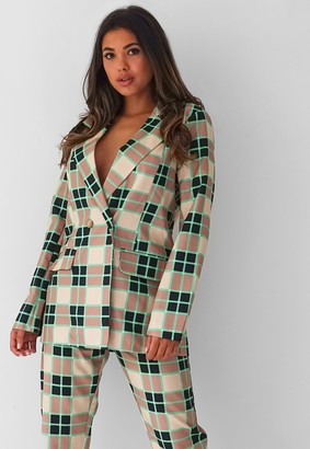 Missguided Green Check Tailored Longline Blazer