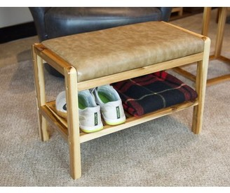 Loon Peak Natividad Faux Leather Shoe Storage Bench Color: Natural, Upholstery: Tan