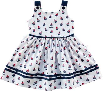 Florence Eiseman Girl's Sailboat-Print Sleeveless Self-Tie Dress, Size 12-24M
