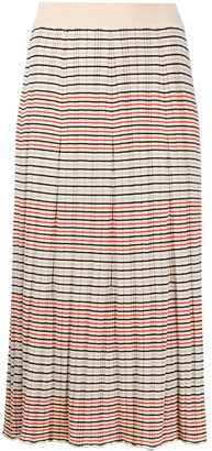 Chinti and Parker Striped Knitted Midi Skirt