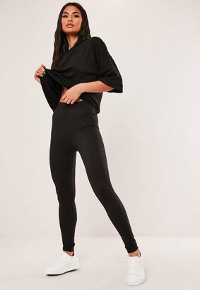 Missguided Tall Black Oversized T Shirt And Leggings Co Ord Set