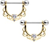 Body Candy Steel Clear Accent Sunlit Flourish Dangle Nipple Barbell Set of 2 14 Gauge 9/16""
