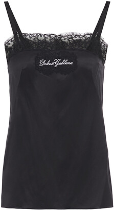 Dolce & Gabbana Lace-trimmed Embroidered Silk-blend Satin Camisole