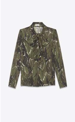 Saint Laurent Lavalliere Blouse In Etamine Printed With An Camouflage