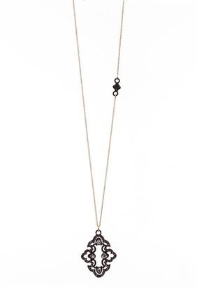Armenta Old World Blackened Sterling Silver & 18K Gold Open Scroll Diamond & Sapphire Pendant Necklace
