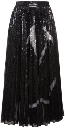 Valentino Go Logo Pleated Sequined Midi Skirt