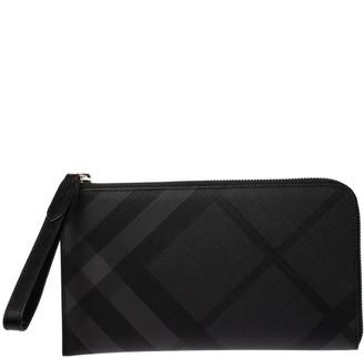 Burberry Charcoal Check Coated Canvas Zip Around Nolan Wristlet Wallet