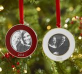 Pottery Barn 2016 Dated Enamel Frame Ornament - Round