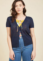 Mcs1067 This navy cardigan from our ModCloth namesake label bestows upon your favorite looks an instantly adorable appeal! Delicate scallops around the neckline, short sleeves, placket, and hem frame the darling picot stitching of this button-front layering piece