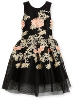 Zoe Mila Sleeveless Pleated Floral Mesh Dress, Black, Size 7-16