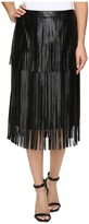 Vince Camuto Pleather Fringe Tiered Skirt