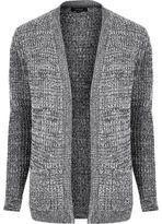 River Island MensGrey waffle knitted cardigan