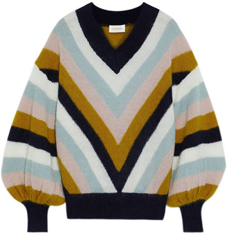 Zimmermann Fleeting Chevron Striped Mohair-blend Sweater