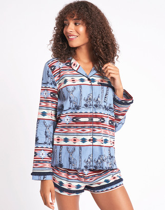 Chelsea Peers Nordic Stag Cotton Long Sleeve Top & Shorts Set