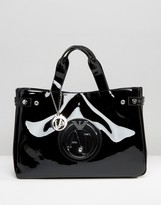 Armani Jeans Patent Tote Bag in Black