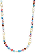 lonna & lilly Gold-Tone Long Beaded Link Statement Necklace