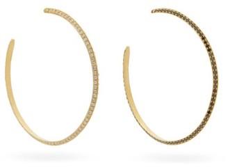 Lizzie Mandler - Othello Diamond & 18kt Gold Hoop Earrings - Black White