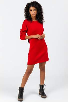 francesca's Darian Back Bow Sweater Dress - Red