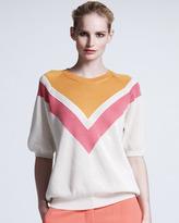 Stella McCartney Chevron Mesh Sweater, Bright Pink/White