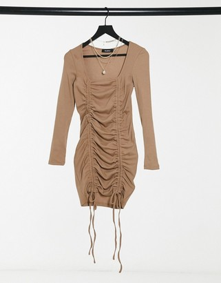 NaaNaa mesh ruched body-conscious dress in stone