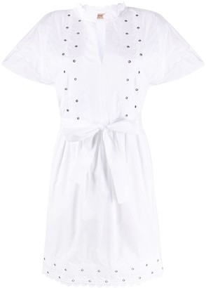 Twin-Set Broderie-Trimmed Poplin Dress