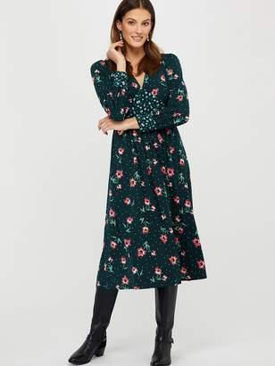 Monsoon Darla Ditsy Print Midi Jersey Dress - Green