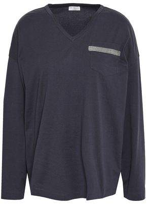 Brunello Cucinelli Bead-embellished Cotton-jersey Top
