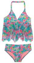Hula Star Girl's 'Rose Tango' Two-Piece Tankini Swimsuit