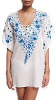 Letarte Pebble Floral-Embroidered Caftan Coverup