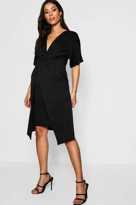 boohoo Maternity Twist Front Kimono Sleeve Midi Dress