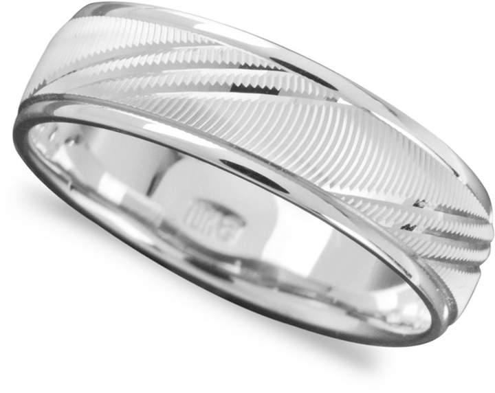 Macy's Men's 14k White Gold Ring, Flash Band (Size 6-13)