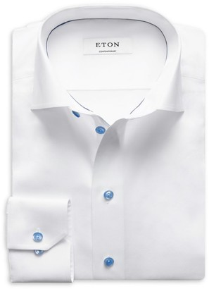 Eton Contemporary-Fit Twill Dress Shirt with Blue Details
