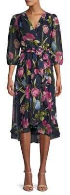 Gabby Skye Moody Floral-Print High-Low Wrap Dress