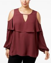 Eyeshadow Trendy Plus Size Ruffled Cold-Shoulder Top