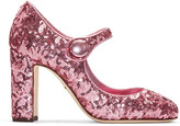Dolce & Gabbana Pink Sequinned Mary Jane Heels