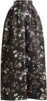 Rochas Bouquet-print duchess-satin skirt