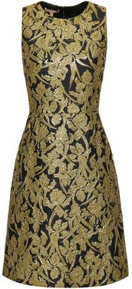 Michael Kors Flared Metallic Brocade Dress