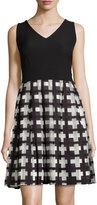Karl Lagerfeld Sleeveless Plaid Skirt Dress, Noir