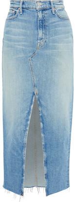 Mother The Altered Sacred Split-front Frayed Denim Midi Skirt