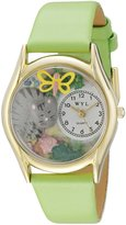 Whimsical Watches Kids' C0120010 Classic Cat Nap Green Leather And tone Watch